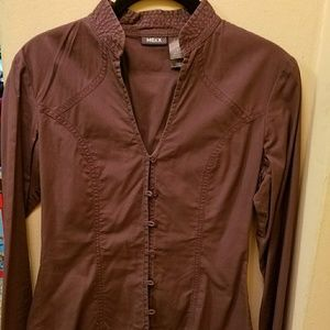 Mexx cotton purple blouse with frog-like closure s